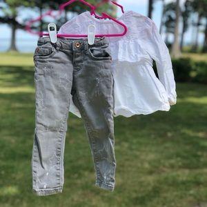 Distressed grey jeans w/ stars Size 18-24mo